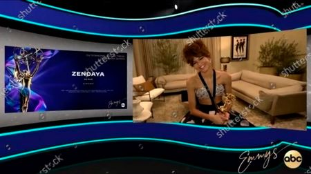 """Stock Image of This video grab captured during the 72nd Emmy Awards Media Center, shows Zendaya being interviewed about her win for Outstanding Lead Actress in a Drama Series for """"Euphoria"""" during the 72nd Emmys on Sunday, Sept 20. 2020"""