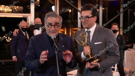 "Eugene Levy, left, and Daniel Levy from ""Schitt's Creek"" accept the Emmy for Outstanding Comedy Series during the 72nd Emmy Awards telecast on at 8:00 PM EDT/5:00 PM PDT on ABC. This is one of seven Emmy wins for ""Schitt's Creek"" tonight"