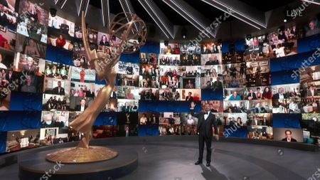 Host Jimmy Kimmel speaks on stage during the 72nd Emmy Awards telecast on at 8:00 PM EDT/5:00 PM PDT on ABC