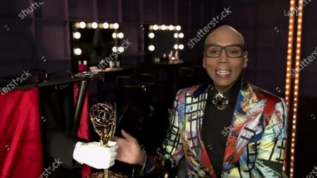 """RuPaul from """"RuPaul's Drag Race"""" accepts the Emmy for Outstanding Competition Program during the 72nd Emmy Awards telecast on at 8:00 PM EDT/5:00 PM PDT on ABC. This is the show's third consecutive Emmy win for Competition Program (2018-2020"""