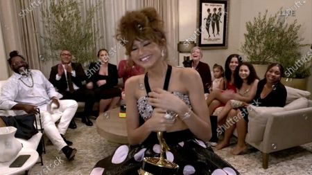 """Stock Photo of Zendaya accepts the Emmy for Outstanding Lead Actress in a Drama Series for """"Euphoria"""" during the 72nd Emmy Awards telecast on at 8:00 PM EDT/5:00 PM PDT on ABC"""