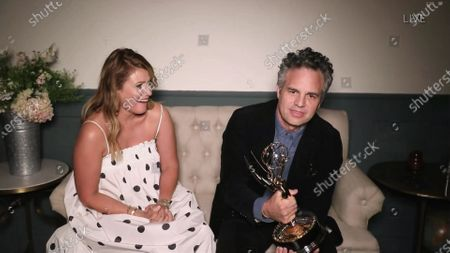 """Mark Ruffalo accepts the Emmy for Outstanding Lead Actor in a Limited Series or Movie for """"I Know this Much is True"""" during the 72nd Emmy Awards telecast on at 8:00 PM EDT/5:00 PM PDT on ABC"""