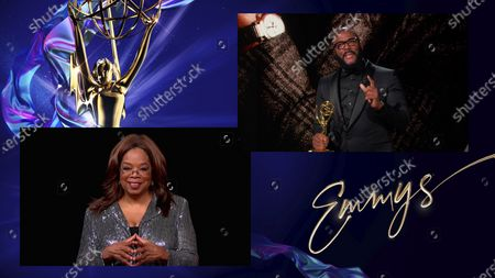Oprah Winfrey presents the Governors Award to Tyler Perry during the 72nd Emmy Awards telecast on at 8:00 PM EDT/5:00 PM PDT on ABC