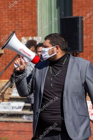 Stock Image of Frank Manzano, co-founder of the anti-racist collective 'If Not Us, Then Who?' speaks at a Black Lives Matter rally outside of the police station in Milton, Pennsylvania.