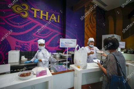 Editorial picture of Thai Airways office in Bangkok turns into inflight-style cafeteria amid company crisis, Thailand - 21 Sep 2020
