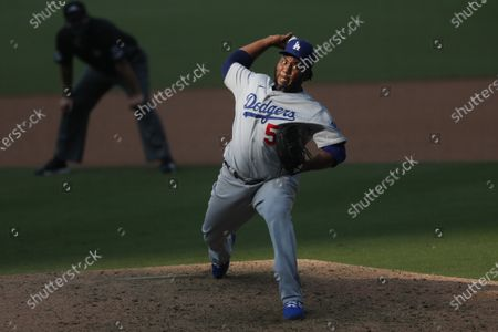 Pedro Baez of the Los Angeles Dodgers in the 9th inning against the San Diego Padres at Petco Park on Wednesday, Sept.16, 2020 in San Diego, CA. (K.C. Alfred / The San Diego Union-Tribune)