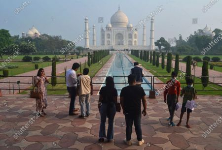 Small number of tourists visit as the Taj Mahal monument is reopened after being closed for more than six months due to the coronavirus pandemic in Agra, India, Monday, Sept.21, 2020