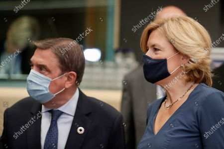 Spanish Minister of Agriculture Luis Planas (L) and German Minister of Food and Agriculture Julia Kloeckner (R) during an EU Agriculture and Fisheries Council meeting in Brussels, Belgium, 21 September 2020.