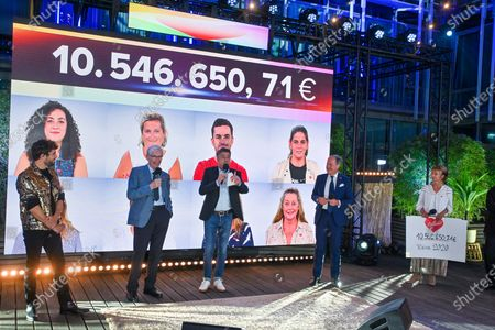Stock Image of The fundraising operation for the benefit of scientific research against leukemia and cancer. This 2020 edition with Covid-19 rules brought in 10,546,650 euros. The sponsor of this edition was Agustin Galiana. Different personalities wished to support the cause. Thus the presence of Kendji Girac, Vincent Niclo, Salvatore Adamo, Typh Barrow, Fanny Leeb, Loic Nottet.