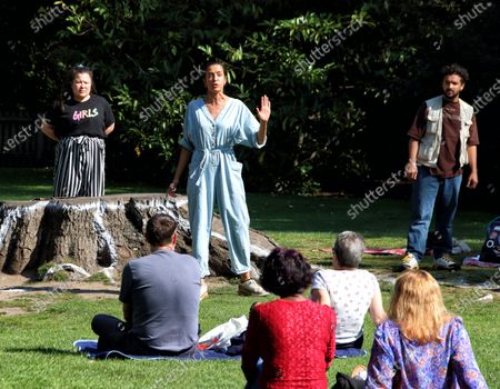 """Stock Image of Actress Avita Jay and other cast members perform to a socially distanced audience. The Royal Shakespeare Company has been running a series of free outdoor shows entitled """"Shakespeare Snapshots""""."""