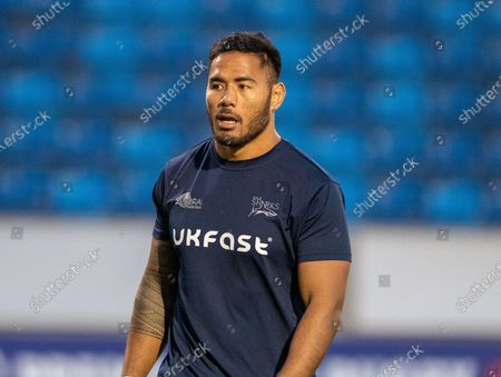 Manu Tuilagi of Sale Sharks is listed as a replacement for tonight's match; AJ Bell Stadium, Salford, Lancashire, England; English Premiership Rugby Cup Final, Sale Sharks versus Harlequins.