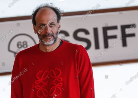 Stock Picture of Luca Guadagnino, President of the Jury of Festival's official section, poses for the photographers after he presented the HBO's series 'We Are Who We Are' as part of 68th San Sebastian International Film Festival in the city of San Sebastian, northern Spain, 21 September 2020. The film festival will run from 18 to 26 September 2020 under safety measures like obligatory face mask use and red carpets without public due to the Covid-19 coronavirus pandemic. Organizers have also reduced the number of film screenings as well as the seating capacity in cinemas.
