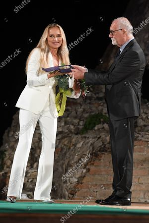 Stock Image of Gloria Guida and Mario Bolognari mayor of Taormina
