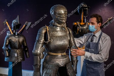 A rare composite Maximilian full armour, c1520, est £40-60,000 with other suits of armour - Preview of Bonhams' Antique Arms and Armour sale at their Knightsbridge saleroom. The sale will take place on Wednesday 23 September