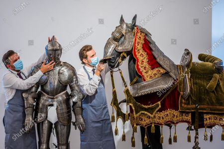 An Equestrian Full Armour For Man And Horse, in Mid-Late 16th Century Style (the Breast- And Back-Plate Late 16th Century, the remainder 19th Century), est£10,000 - 15,000 - Preview of Bonhams' Antique Arms and Armour sale at their Knightsbridge saleroom. The sale will take place on Wednesday 23 September