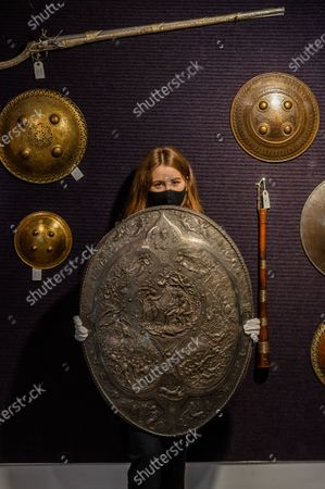 A Milton Shield, 1866, est £2-3,000 - Preview of Bonhams' Antique Arms and Armour sale at their Knightsbridge saleroom. The sale will take place on Wednesday 23 September
