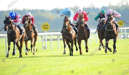 FAIRYHOUSE DREAMS DELIVERED and Chris Hayes (far left) win the Tattersalls Yearling Sale Nursery Handicap from Tar Heel (centre). Healy Racing