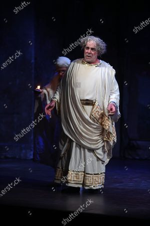 """Stock Picture of Jacques Weber, Manon Combes and Loic Mobihan. Filage of the play """"Crisis of nerves - 3 farces d Anton P. Tchekhov"""" (Swan song, The harm of tobacco, a marriage proposal), directed by Peter Stein."""