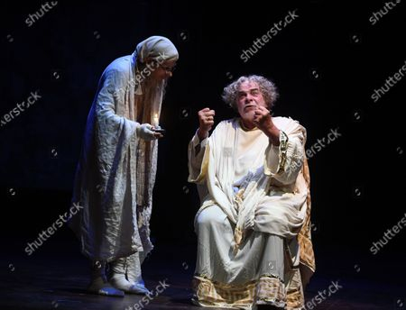 """Stock Photo of Jacques Weber, Manon Combes and Loic Mobihan. Filage of the play """"Crisis of nerves - 3 farces d Anton P. Tchekhov"""" (Swan song, The harm of tobacco, a marriage proposal), directed by Peter Stein."""