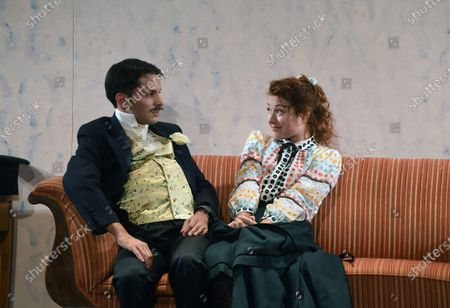 """Stock Image of Jacques Weber, Manon Combes and Loic Mobihan. Filage of the play """"Crisis of nerves - 3 farces d Anton P. Tchekhov"""" (Swan song, The harm of tobacco, a marriage proposal), directed by Peter Stein."""