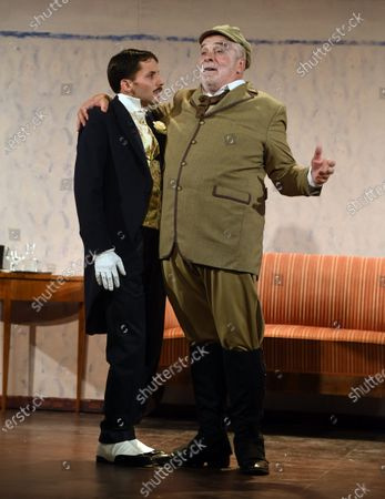 """Jacques Weber, Manon Combes and Loic Mobihan. Filage of the play """"Crisis of nerves - 3 farces d Anton P. Tchekhov"""" (Swan song, The harm of tobacco, a marriage proposal), directed by Peter Stein."""