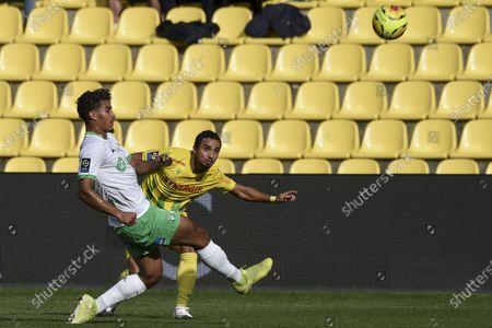 Nantes' Brazilian defender Fabio da Silva heads the ball during the L1 football match between Nantes (FC Nantes) and Saint-Etienne