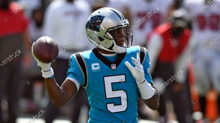 Carolina Panthers quarterback Teddy Bridgewater (5) throws a pass against the Tampa Bay Buccaneers during the second half of an NFL football game, in Tampa, Fla
