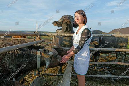 Head of the Karpatskyi buivil (Carpathian Buffalo) farm Inna Levdar stays by buffaloes near Vynohradiv, Zakarpattia Region, western Ukraine.
