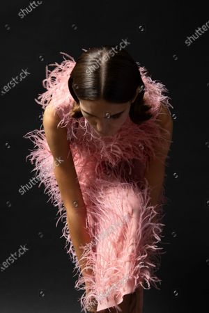 Stock Photo of A Model wearing an outfit from the Womens Ready to wear, pret a porter, collections, summer 2021, original creation, during the Womenswear Fashion Week in London, from the house of Sharon Wauchob