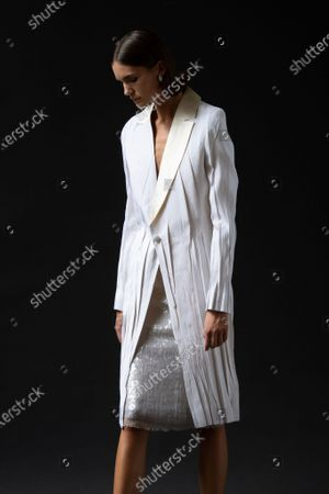 A Model wearing an outfit from the Womens Ready to wear, pret a porter, collections, summer 2021, original creation, during the Womenswear Fashion Week in London, from the house of Sharon Wauchob