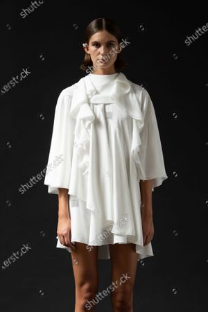 Stock Picture of A Model wearing an outfit from the Womens Ready to wear, pret a porter, collections, summer 2021, original creation, during the Womenswear Fashion Week in London, from the house of Sharon Wauchob