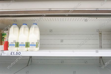 Plastic bottles of milk nearly sold out in Tesco supermarket in Sheffield. In supermarkets across the country, there is a fear that the second wave of the pandemic is approaching, after a spike in coronavirus cases in the UK.