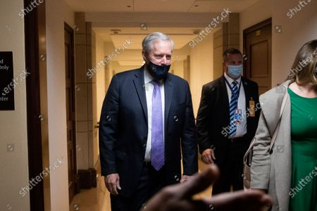 White House Press Secretary Mark Meadows (L) leaves following a meeting with US Speaker of the House Nancy Pelosi (not pictured), on Capitol Hill in Washington, DC, USA, 21 September 2020. Negotiations between Trump administration officials and Democratic leadership on another coronavirus stimulus package have remained stalled, with eviction protections and unemployment benefits having lapsed for millions of Americans.