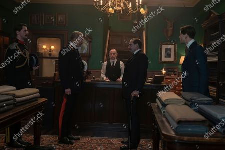Matthew Goode as Captain Morton, Charles Dance as General Kitchener, Shaun Scott as Kingsman Tailor, Ralph Fiennes as Duke of Oxford and Harris Dickinson as Conrad