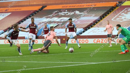 Aston Villa's Matt Targett fouls Sheffield United's Jack O'Connell in the penalty area during the English Premier League soccer match between Aston Villa and Sheffield United at the Villa Park stadium in Birmingham