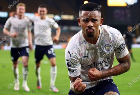 Gabriel Jesus of Manchester City celebrates scoring the 3-1 during the English Premier League match between Wolverhampton Wanderers and Manchester City in Wolverhampton, Britain, 21 September 2020.