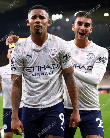Gabriel Jesus of Manchester City celebrates scoring the 3-1 with Ferran Torres (R) during the English Premier League match between Wolverhampton Wanderers and Manchester City in Wolverhampton, Britain, 21 September 2020.