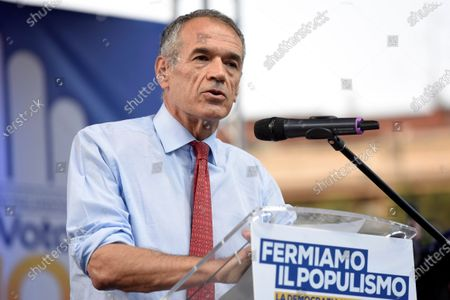 Stock Picture of Carlo Cottarelli attends the public meeting for the NO in the referendum against the cut of parliamentarians