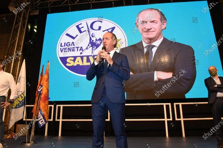 The candidate for president for the center-right, Luca Zaia (C), speaks during the meeting to comment on the result of the regional votes in Veneto, Villorba, Italy, 21 September 2020.