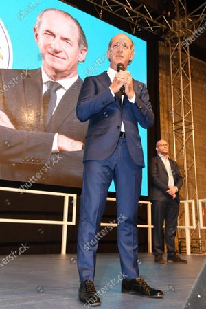 The candidate for president for the center-right, Luca Zaia, speaks during the meeting to comment on the result of the regional votes in Veneto, Villorba, Italy, 21 September 2020.