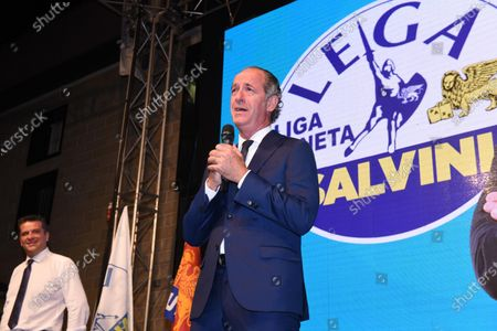 The candidate for president for the center-right, Luca Zaia (R), speaks during the meeting to comment on the result of the regional votes in Veneto, Villorba, Italy, 21 September 2020.