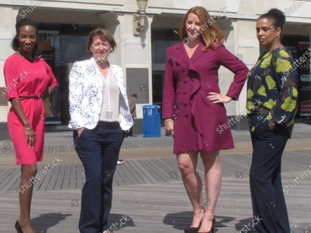 Stock Photo of The four women who run Atlantic City casinos pose for photos on the Atlantic City N.J. Boardwalk on : From left, to right they are: Jacqueline Grace of Tropicana; Terry Glebocki of Ocean Casino Resort; Karie Hall of Bally's, and Melonie Johnson of Borgata. Four of Atlantic City's nine casinos are run by women
