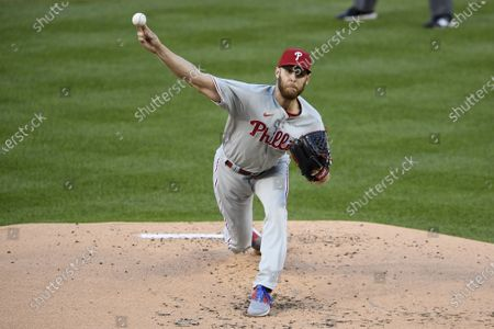 Philadelphia Phillies starting pitcher Zack Wheeler delivers during the first inning of a baseball game against the Washington Nationals, in Washington
