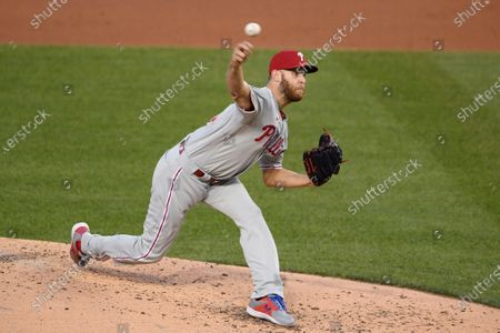 Philadelphia Phillies starting pitcher Zack Wheeler delivers during the second inning of a baseball game against the Washington Nationals, in Washington
