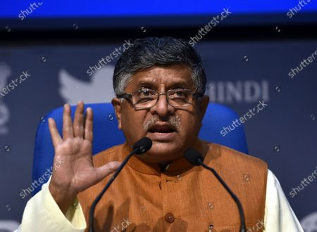 Union Minister Ravi Shankar Prasad during a media briefing on the ruckus in the Rajya Sabha, at National Media Centre on September 21, 2020 in New Delhi, India. Vice President And Upper house Chairman M Venkaih Naidu suspended eight MPs over their misconduct on Sunday. TMC's Derek O'Brien and Dola Sen, Sanjay Singh of Aam Aadmi Party (AAP), Congress leaders Rajeev Satav, Ripun Bora and Syed Nasir Hussain and KK Ragesh and Elamaram Kareem of the CPI(M) were suspended for a week under Rule 256(2).
