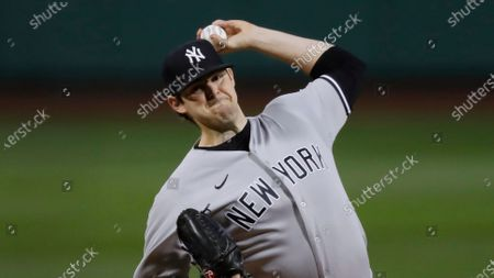 New York Yankees' Jordan Montgomery plays against the Boston Red Sox during the first inning of a baseball game, in Boston