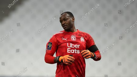 Marseille's goalkeeper Steve Mandanda reacts during the French League One soccer match between Marseille and Lille at the Stade Velodrome in Marseille, France