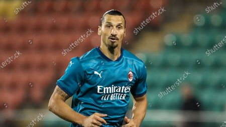 Milan's Zlatan Ibrahimovic in action during an Europa League second qualifying round soccer match between Shamrock Rovers and AC Milan at the Tallaght Stadium in Dublin, in Dublin