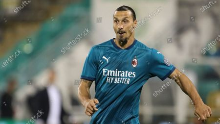 Stock Photo of Milan's Zlatan Ibrahimovic in action during an Europa League second qualifying round soccer match between Shamrock Rovers and AC Milan at the Tallaght Stadium in Dublin, in Dublin
