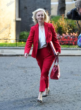 Liz Truss, Secretary of State for International Trade arrives for a cabinet meeting at Downing Street